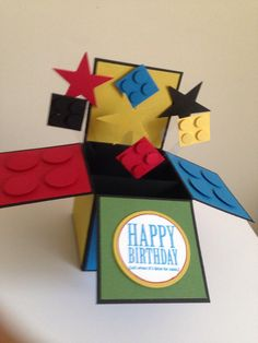Happy Birthday Card in a box Handmade Building por Deeshandcrafted