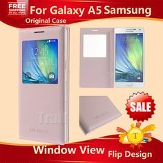 Accesorios para teléfonos móviles originales bolsas cubren para samsung a500 soporte de ventana de visualización de cuero flip case para samsung galaxy a5 2015
