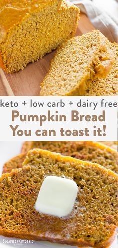 An actual keto pumpkin bread you can toast! Dairy free option and nut free keto bread that's easy to make and great for anyone with allergies. Best for keto fall recipes and anything pumpkin spice!