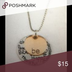 "Be Happy necklace. Be Happy necklace from Stamp the Moment features a 1/2"" rose-gold-tone pendent with ""Be"" stamped on it and a 1"" silver-tone pendent with seven inspirational words stamped on it...all on an 18"" cable chain with a 1.5"" extender. Stamp the Moment Jewelry Necklaces"
