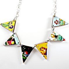 wood bunting flag necklace with cute vintage 40s by Fluffington, $18.00