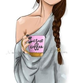 No photo description available. Dibujos Pin Up, Hello November, Coffee Girl, Art Drawings Sketches, Disney Wallpaper, Art Girl, Fashion Art, Cool Outfits, Girly