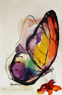 Rainbow Butterfly watercolor painting original by AlisaAdamsoneArt #watercolorarts