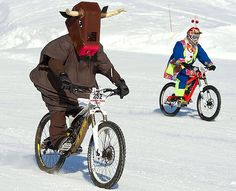 This is an actual mountain bike snow race in the alpine resort of Villars, Switzerland.