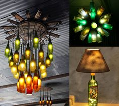 Wine bottle chandelier and table lamp from Practical Ideas On How To Design And Decorate With Glass Bottles (Alcohol Bottle Lights) Empty Wine Bottles, Recycled Wine Bottles, Wine Bottle Corks, Lighted Wine Bottles, Diy Bottle, Bottle Lights, Wine Bottle Crafts, Glass Bottles, Recycled Glass