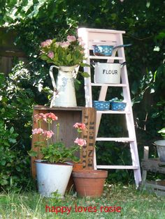 Garden ladder and crate with old enamel from Happy Loves Rosie