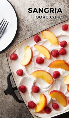 This boozy poke cake is flavored with all the elements of fresh and fruity white wine sangria!