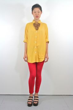 Lemon Yellow Button Up Blouse - Magic Orchid Collection
