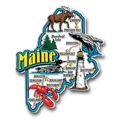 Our Maine jumbo state magnet measures approximately 9 square inches and has a thickness of 0.1. This Classic Maine State Jumbo Magnet is perfect for any refrigerator or metal surface and makes a great