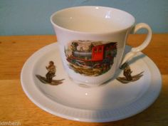 KRONESTER BAVARIA Canada 1886 Train/Railroad FOOTED CUP AND SAUCER