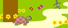 """La Lepre e la Tartaruga (Esopo). """"... La tartaruga intanto camminava con fatica, un passo dopo l'altro, e quando la lepre si svegliò, la vide vicina al traguardo..."""""""