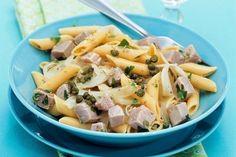 Těstovinový salát s tuňákem a kapary Penne, Eat Smarter, Pasta Salad, Risotto, Potato Salad, Potatoes, Chicken, Meat, Ethnic Recipes