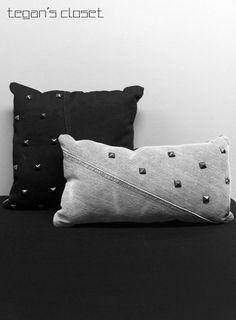#pillows #studs #pillow 2 Studded Black and Grey Denim Decorative Pillows. $45.00, via Etsy.