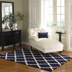 Rugs USA Homespun Moroccan Trellis Navy Blue Rug, 100% Wool, Hand Hooked, Summer, Blue, Navy