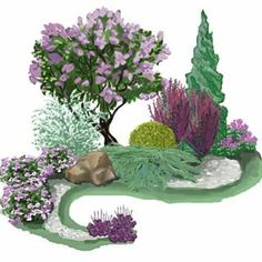 Good representation of a purple themed garden with varied shapes and textures.: