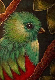 QUETZAL BIRD IN MY FANTASY GARDEN-Cyra R. Cancel