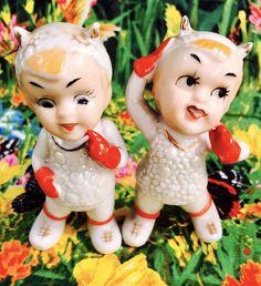 CUTE! Snow Bunny Devil Figurines 1950s Kitsch Vintage Retro Angel Napco Lefton