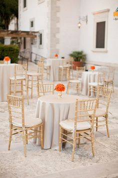 Ideal set up for cocktail hour but the centerpieces would be feathers and there would be white chair covers (like the one on my profile) on the backs of the chairs!
