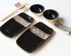 Sushi Set Set for Two Rustic Sushi Set Serving Ceramic by bemika