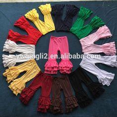 Source DYJ-226 2016 fall boutique girls Multi-color 3 layer Ruffle pants leggings wholesale baby kids girls icing ruffle pants on m.alibaba.com