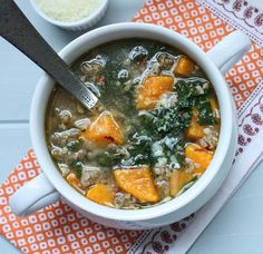 Turkey Sausage, Kale & Pumpkin Soup- Emily, use zucchini if pumpkin's not safe. Sausage And Kale Soup, Turkey Sausage, Chicken Sausage, Kale Recipes, Soup Recipes, Healthy Recipes, Healthy Soups, Pumpkin Recipes, Healthy Snacks