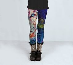 Psycadelic Tiger yoga leggings fitness gym workout clothing S - L by ParadoxYoga on Etsy