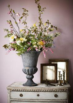 vase; dresser.