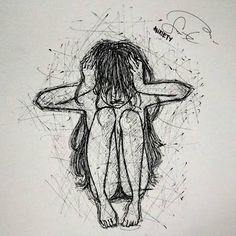 Sad Drawings, Dark Art Drawings, Pencil Art Drawings, Art Drawings Sketches, Drawings Of Sadness, Drawing Feelings, Emotional Drawings, Cool Sketches, Arte Grunge