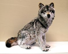 Believe it or not-this wolf sculpture is entirely made out of pipe cleaners...AMAZING!