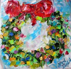 Original oil painting #Christmas #Wreath abstract by Karensfineart