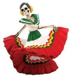"With her twirling skirts, this resin ""Dancing Senorita"" Dia de los muertos collectibe figure livens up any space. Measures approximately 6 in. x 4.5 in. x 5.5 in. and weighs approximately 1 lb. 3 oz."
