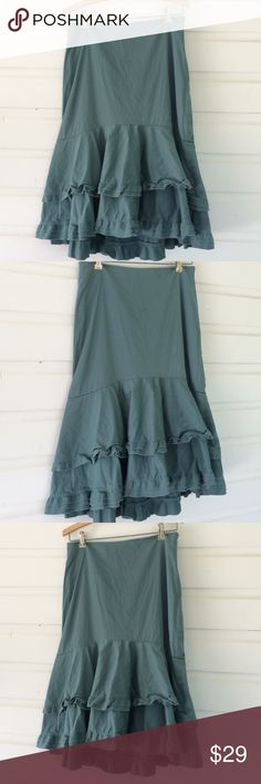 "Anthropologie Odille Teal Cotton Ruffle Skirt Adorable Anthro skirt with ruffles in a circle skirt. Lovely green teal color. One light mark at back (see photo) Rumpled or pressed, this skirt is lovely! Size zip. 16"" at waist, laid flat. 28"" from waist to hem. 39"" at widest part of the circle. Offers always warmly received. Anthropologie Skirts A-Line or Full"