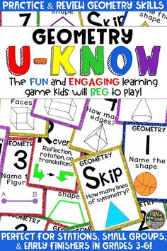 Students love playing U-Know games for fun REVIEW of geometry or for test prep. It's a perfect activity for any small group or station, and great for early finishers. Geometry U-Know is a fun learning game played similar to UNO except if you get an answer wrong, you have to draw two! Students will beg to practice geometry in this way! Covers lines, 3-D shapes, angles, and more! Available in MANY other topics, too!