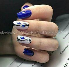 Blue nail designs Blue Nail Art Ideas for 2018 - Top 150 Designs - Our Nail Blue Nail Designs, Acrylic Nail Designs, Blue Design, Stylish Nails, Trendy Nails, Us Nails, Hair And Nails, Manicure E Pedicure, Super Nails