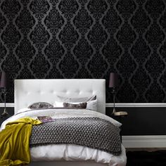 Laurence Llewellyn-Bowen's Naughty noir Kinky Vintage wallpaper (black flock), Marrakesh meets Marie Antoinette in a flirtatious fusion of east snogs west tactile indulgence wallpaper. Please note that this is a Flocked wallpaper and as such has a soft velvet like finish to part of the design.