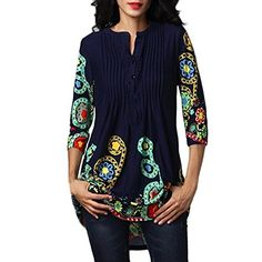 GOVOW Womens 3 4 Sleeve Roundneck Floral Tunic Tops Loose Blouse Button up  Shirts   de03f7d1c3b85