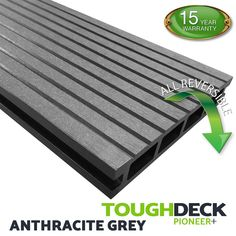 Anthracite Grey Wood Grain WPC Decking Board - Pioneer+ Wpc Decking, Composite Decking, Grey Wood, Grey Stone, Pioneer Decks, Wood Grain Texture, Grains, Boards, Nest