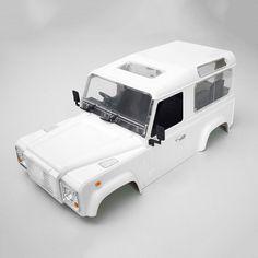高品質rcロッククローラー1:10土地ローバーディフェンダーd90白い車シェルrc4wdクローラd90 diy体