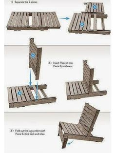 Ted's Woodworking Plans - DIY Make a chair by pallet You can easily make your own wooden chair by pallet. Just separate its two pieces, insert them one i. Get A Lifetime Of Project Ideas & Inspiration! Step By Step Woodworking Plans Pallet Garden Furniture, Diy Outdoor Furniture, Furniture Decor, Furniture Projects, Palette Furniture, Furniture Storage, Woodworking Projects Diy, Woodworking Plans, Diy Projects
