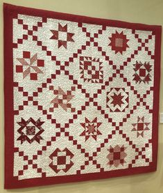 """Bed Quilt 19, """"Threads of Red"""" by Mickie Johnson  """"I belong to a quilting group, Bless My Stitches, which meets every Monday at my church, Immanuel Baptist. This was a quilt pattern each of us did as a block of the month. I chose red and white, because I love the look of the classic red and white quilts. I will display it at Christmas."""" Christmas Blocks, Two Color Quilts, Red And White Quilts, Block Of The Month, My Church, Quilt Bedding, Table Toppers, Capital City, Quilt Patterns"""