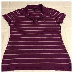 Tommy Hilfiger Polo Shirt Purple and white striped polo shirt, collar with three button closure. Tommy Hilfiger Tops