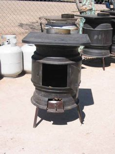 Stove from a propane tank and 2 wheels.   Manteresting