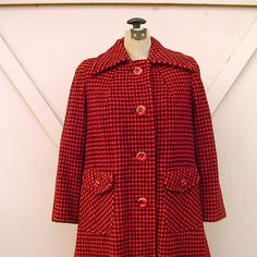 vintage red swing coat | vintage Checkered Red and Black Wool Swing Coat