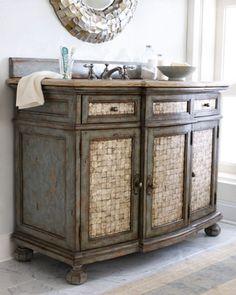 "Ambella ""Salina"" Sink Chest - Horchow Paint Furniture, Bathroom Furniture, Furniture Refinishing, Furniture Ideas, French Furniture, Bathroom Storage, Bathroom Sets, Bathroom Bin, Family Bathroom"