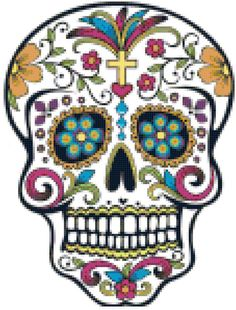 Sugar Skull Counted Cross Stitch Pattern Chart PDF Download by Stitching Addiction