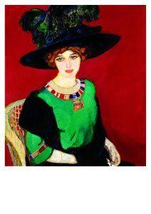 Postcards   Portret van Greet met hoed, 1912   Jan Sluijters   A8634   Postcards, Art, Portraits, Clothing, Hats, Women, People,
