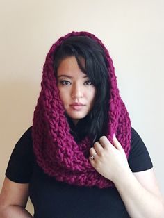 Magenta chunky knit wool cowl scarf hood by Tokyo Blossom Boutique