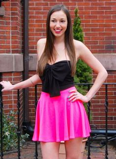 Neon Pink High Waisted Skater Skirt with Pleat Detail,  Skirt, neon  skater skirt  high waisted, Chic