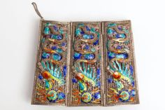 Antique Chinese Elaborate Silver Filigree Dragon Enamel Matching Cuff Bracelets | eBay