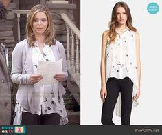 Ali's bird print blouse on Pretty Little Liars.  Outfit Details: http://wornontv.net/49477/ #PLL